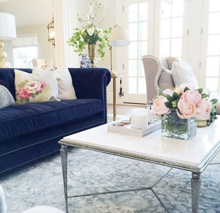 Image Result For Living Room With Floral Wallpaper And Navy Blue Custom Blue Sofa Living Room Design Decorating Inspiration