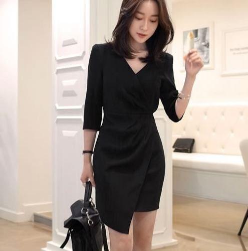 Vestido Formal Trabajo Elegante Oficina Corto Con Manga 2214