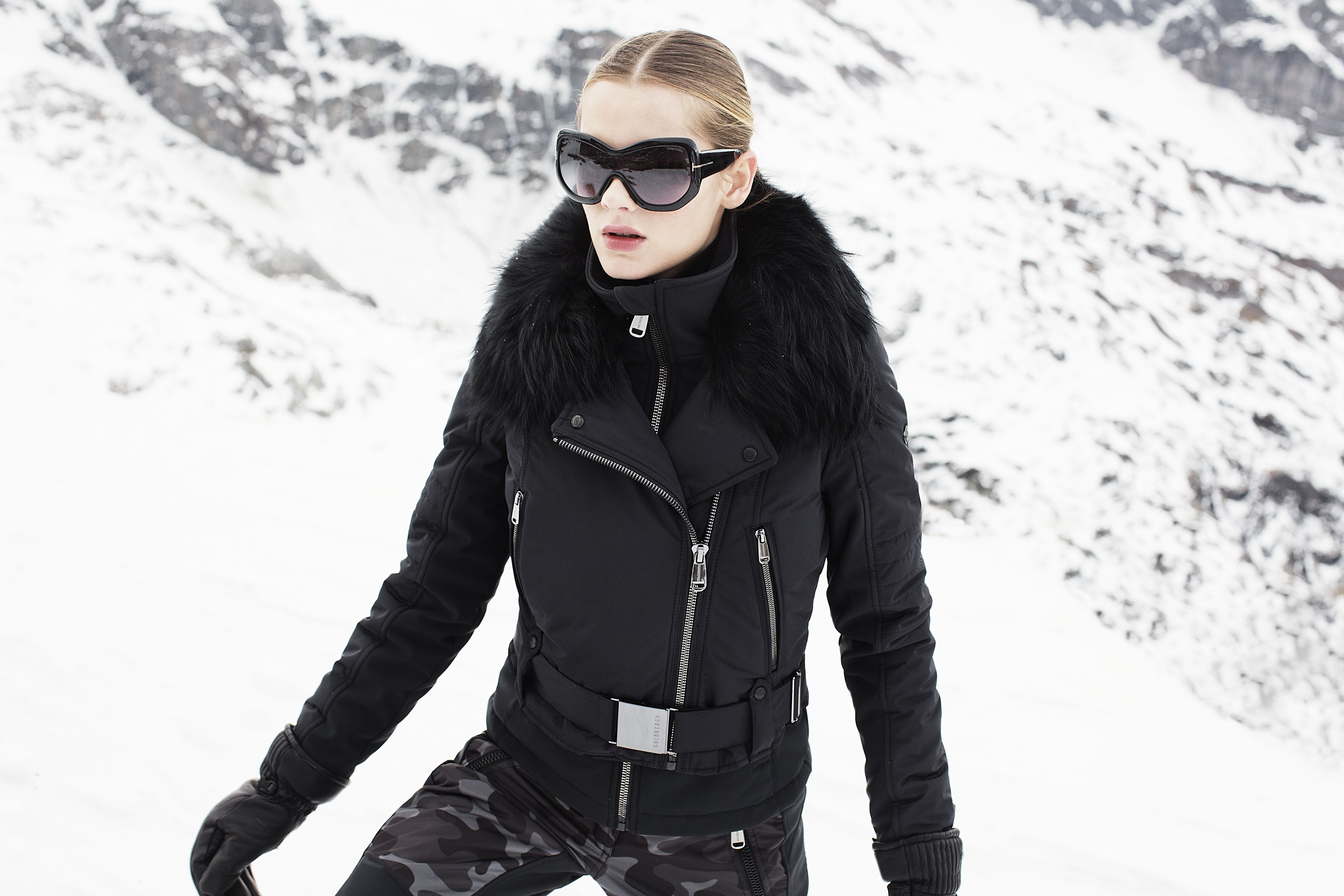 20fb4d5093 Miyoko GOLDBERGH Ski jacket and Kuru camouflage skipant. 2017 2018 Prada  sunglasses