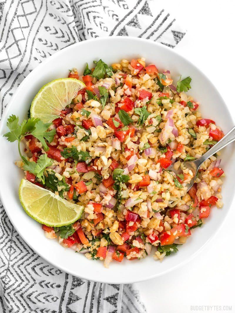 Peanut Lime Cauliflower Salad - Budget Bytes #ricedcauliflower