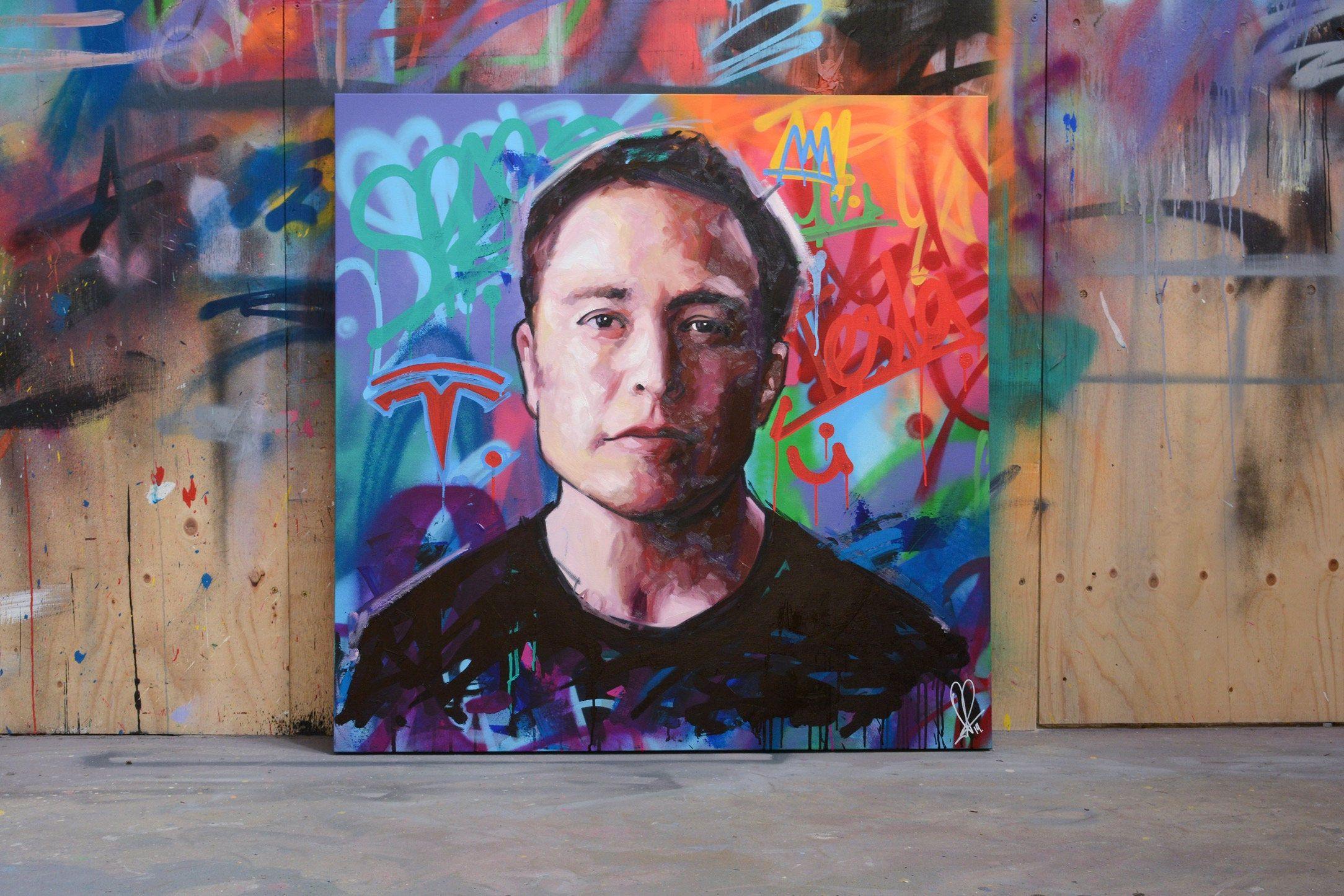 Elon Musk Original Painting 40 Art Portrait Etsy Painting Art Graffiti Art