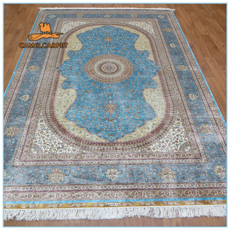 Find More Carpet Information About Free Shipping 6x9 Foot 183x274 Cm Blue Hand Knotted Pure Silk Carpet High Silk Carpet Carpet Companies Oriental Persian Rugs