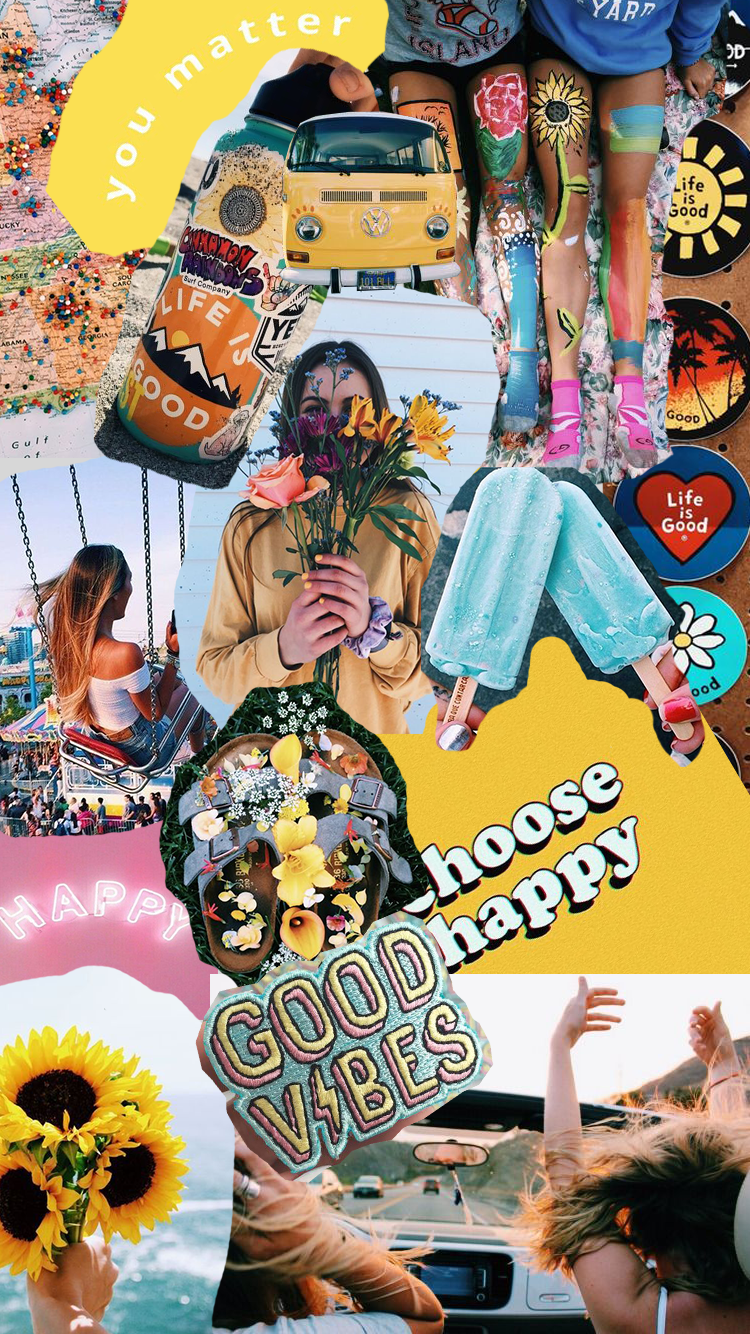 Happy Vibes Insta Collagesbyabby Art Wallpaper Hippie Wallpaper Art Wallpaper Iphone