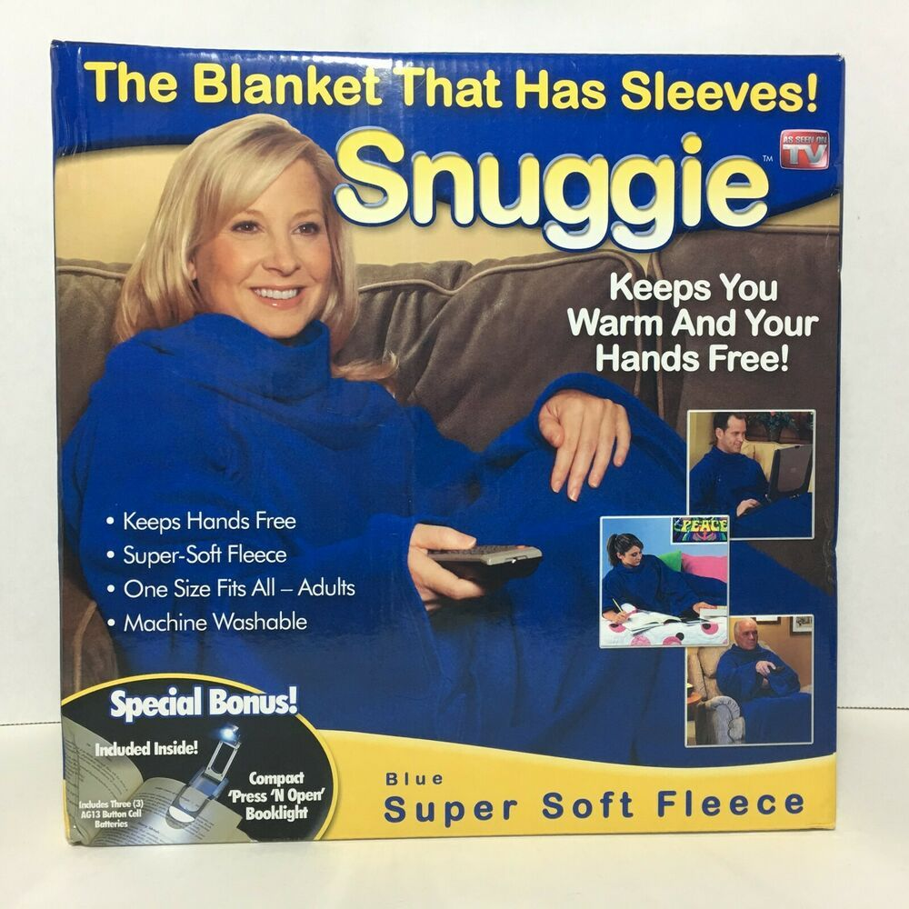 Snuggie Blue Fleece One Size Adult Blanket With Sleeves As Seen On