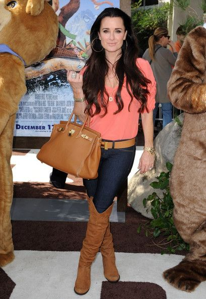 Kyle Richards Hermes bag and belt...haha..love the look minus the bag and belt..