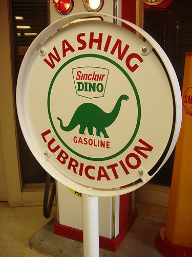 1930s 40s 50s Sinclair Dino Gas Station Curb Sign Lollipop