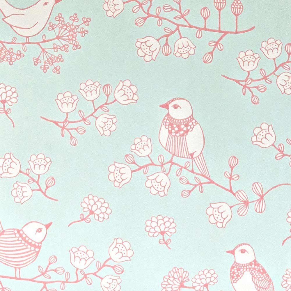 papier peint oiseaux turquoise - MAJVILLAN - déco chambre enfant ...
