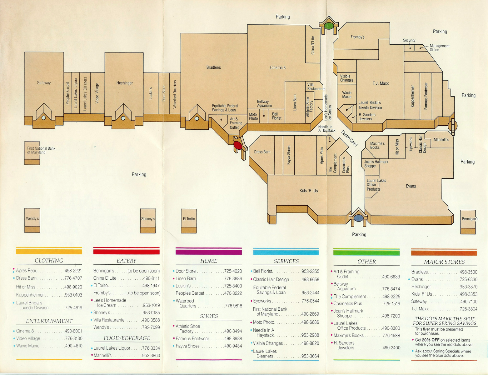 5ea145e881a57 Laurel Lakes Centre store directory. (Early 1990s)