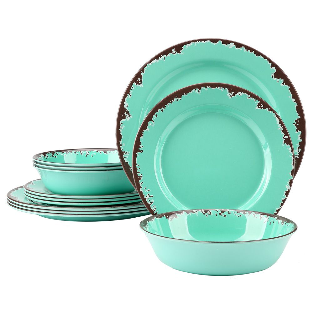 Country Kitchen Rustic Melamine Dinnerware Shatterproof- Green or Blue  sc 1 st  Pinterest & Pin by Miranda Lin on Yinshine Rustic Plate and Bowl Dinnerware Set ...
