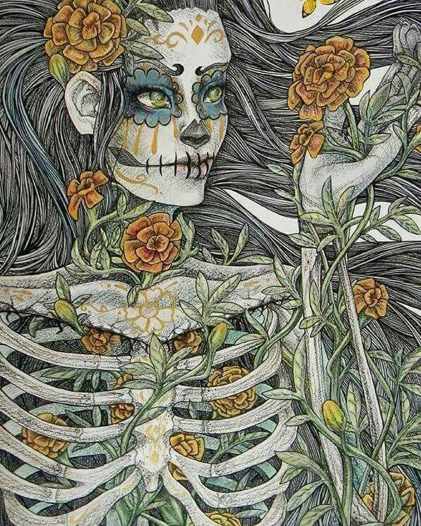 American Hippie Art Day Of The Dead Skulls