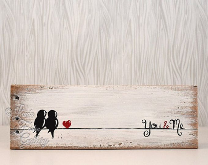 Rustic Wood Signs Reclaimed Art Sign Love Bird Painting 5th Anniversary Gift Wedding For Couple On A Wire