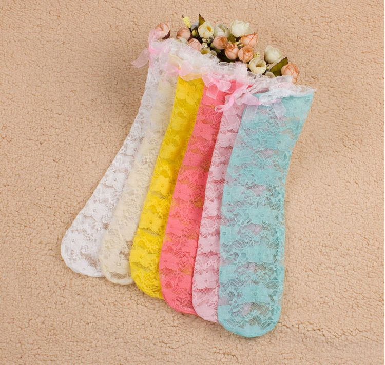 Summer New Fishnet Sock For Baby Girls Pure Cotton Kids Bow Lace Style For Children Princess Knee High Long Socks Lace Fashion Girls Socks Long Socks