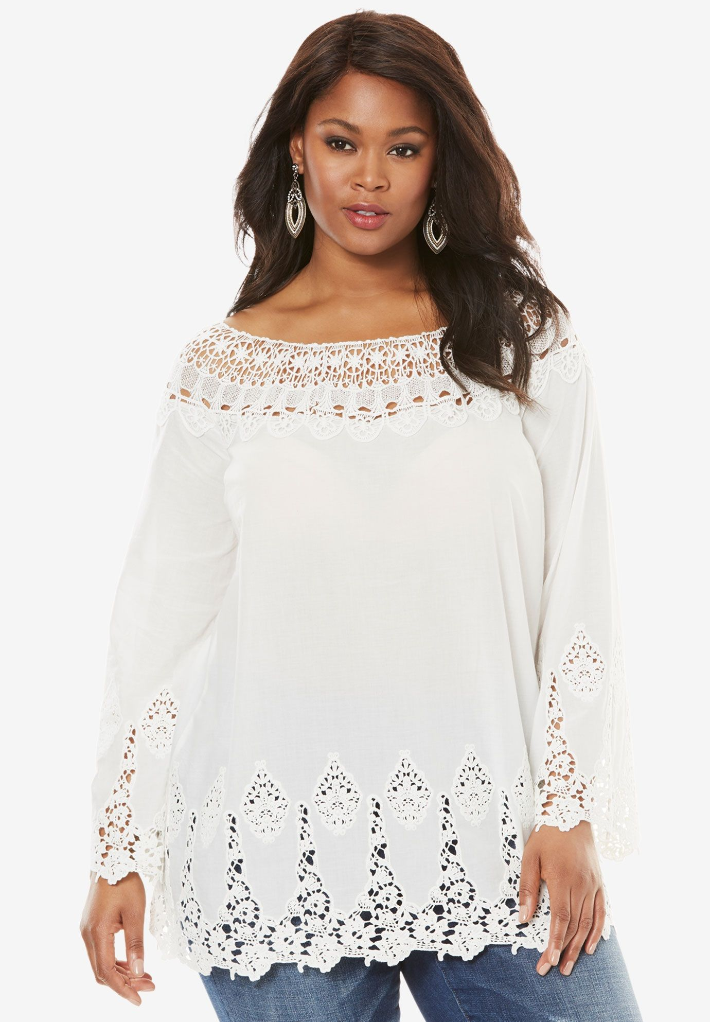 9d5120fb563 Bell-Sleeve Embroidered Lace Tunic, WHITE, hi-res | Style in 2019 ...