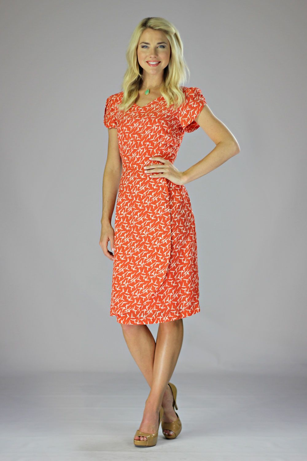 Modest Dresses in Coral Bird Print | My Style | Pinterest | Sweet ...
