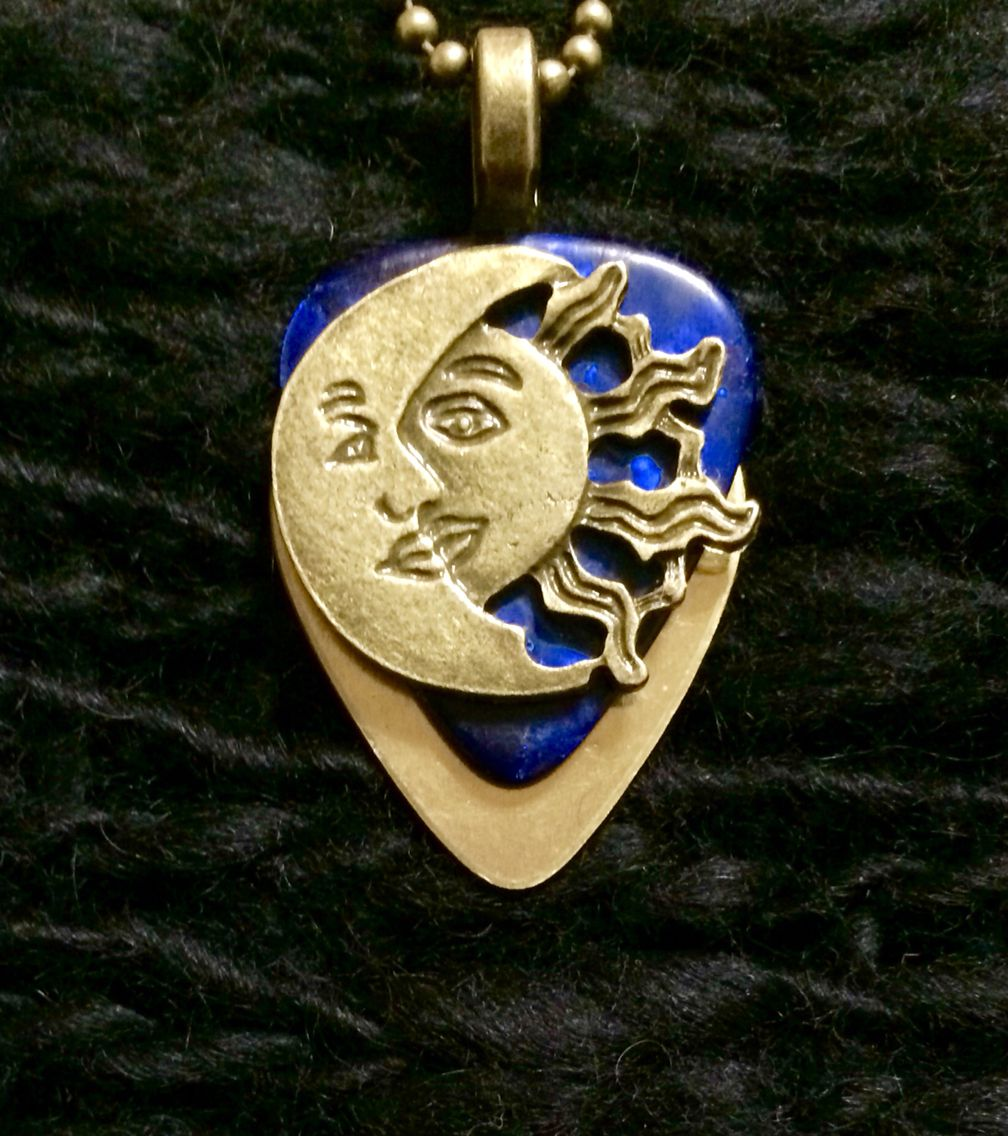 Gold blue metallic sun and moon guitar pick pendent 26 http gold blue metallic sun and moon guitar pick pendent 26 httpinlightenedjewelrydesign aloadofball Image collections