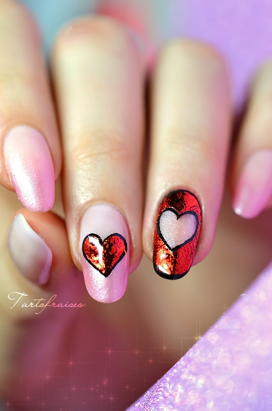 coeur foil saint valentin nail art