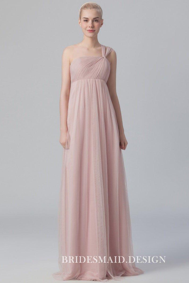 Nude Tulle Elegant One Shoulder Empire Waist Aline Long Bridesmaid