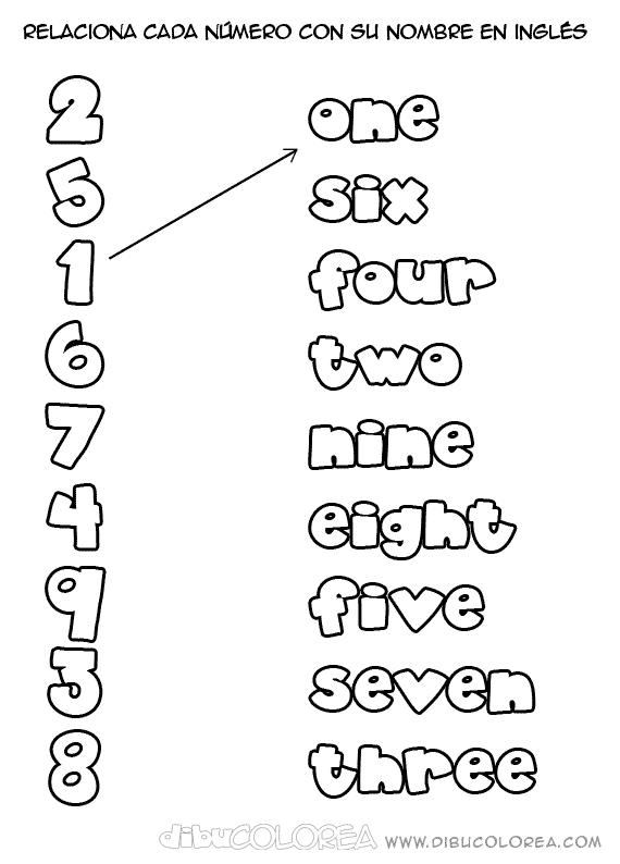 Ficha de los números del 1 al 5 en inglés. Descarga hojas de ...