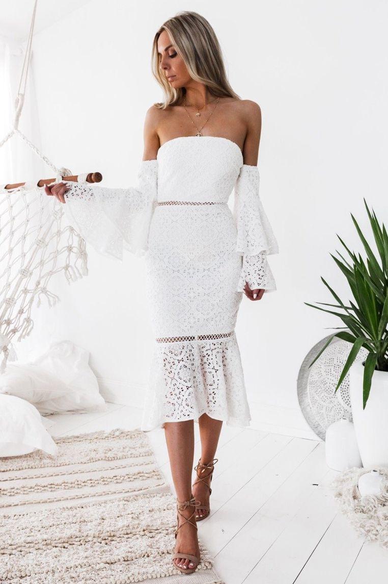 Briana Lace Dress White Lace Dress Lace White Dress Engagement Party Dresses