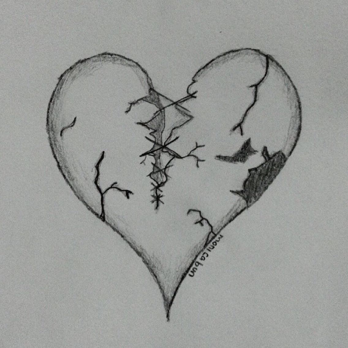 Just a broken hearted art sketch black color draw book pencil paper drawing pen drawingpen