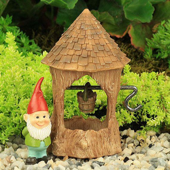 Woodland Wishing Well & Gnome, Fairy Garden Furniture, Fairy Garden ...