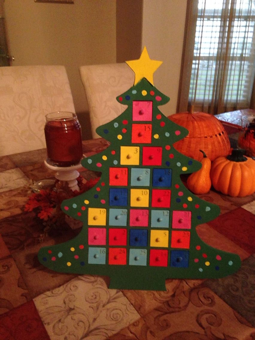 I Bought The Wooden Christmas Tree Advent Calendars At Michaels And Painted Two Of Them F Christmas Tree Advent Calendar Wooden Christmas Trees Advent Calendar