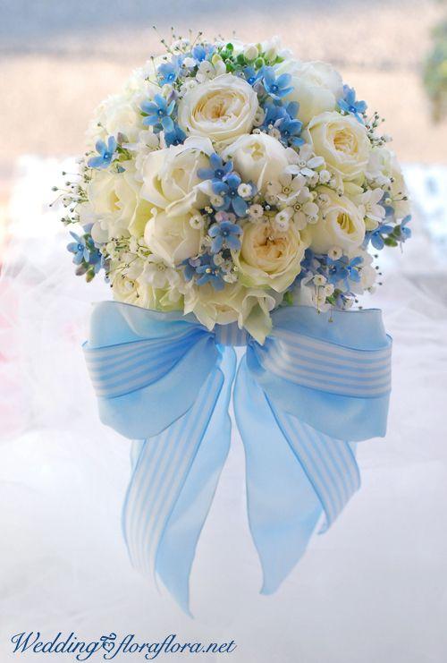 シンデレラの花嫁様 ブルースター*サムシングブルーのリボンブーケ to ディズニーアンバサダーホテル様 : FLORAFLORA*precious flowers*ウェディングブーケ会場装花&フラワースクール*
