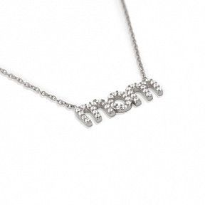 "Rhodium Plated Cz ""Mom"" Necklace 16"" + 2"""