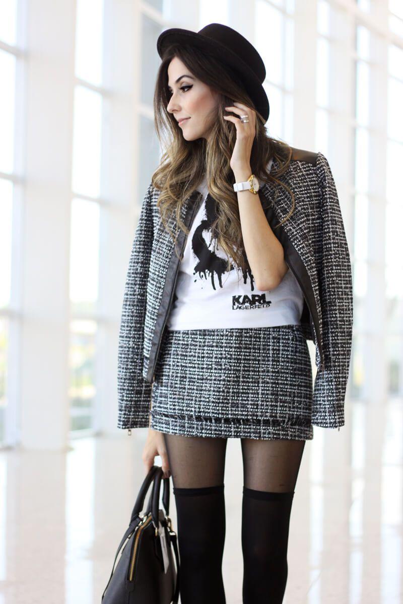 Look clássico em preto e branco com inspiração preppy e as peças da coleção do Karl Lagerfeld para Riachuelo.