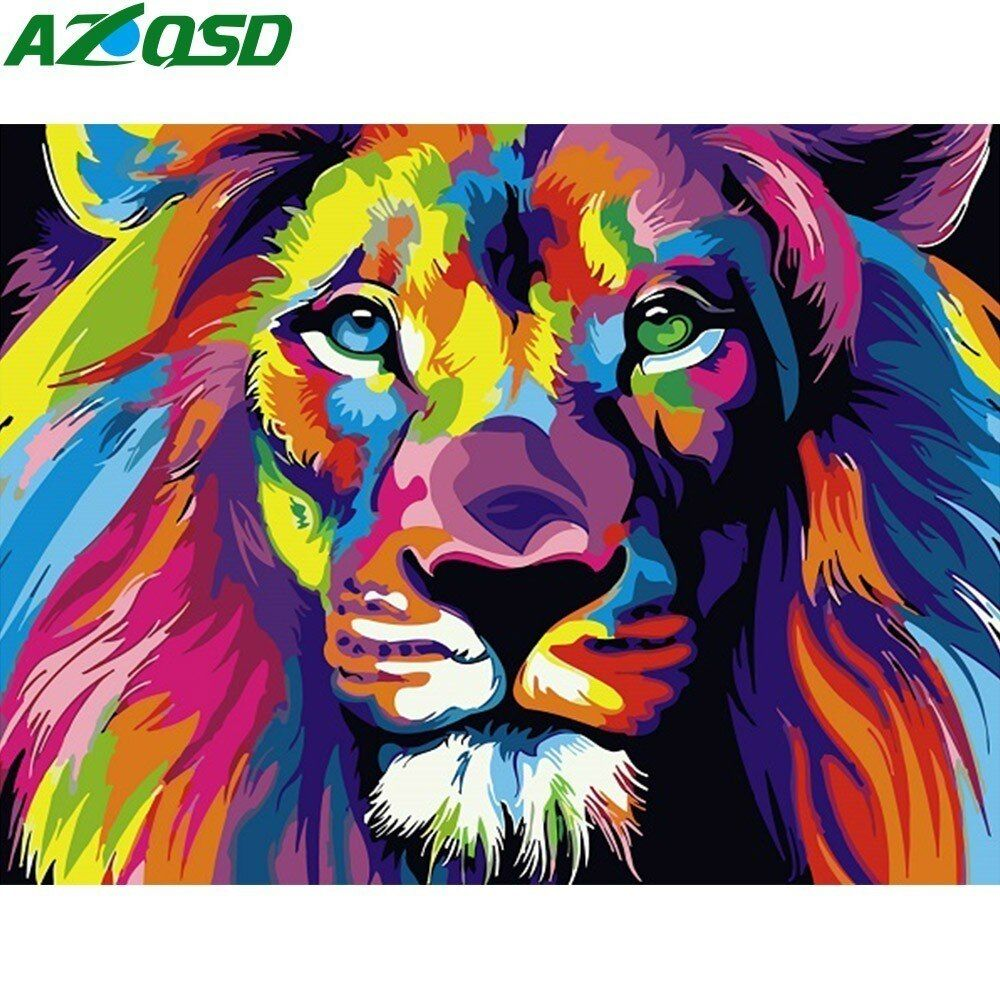AZQSD Painting By Numbers Paint Animal DIY Canvas Colorful