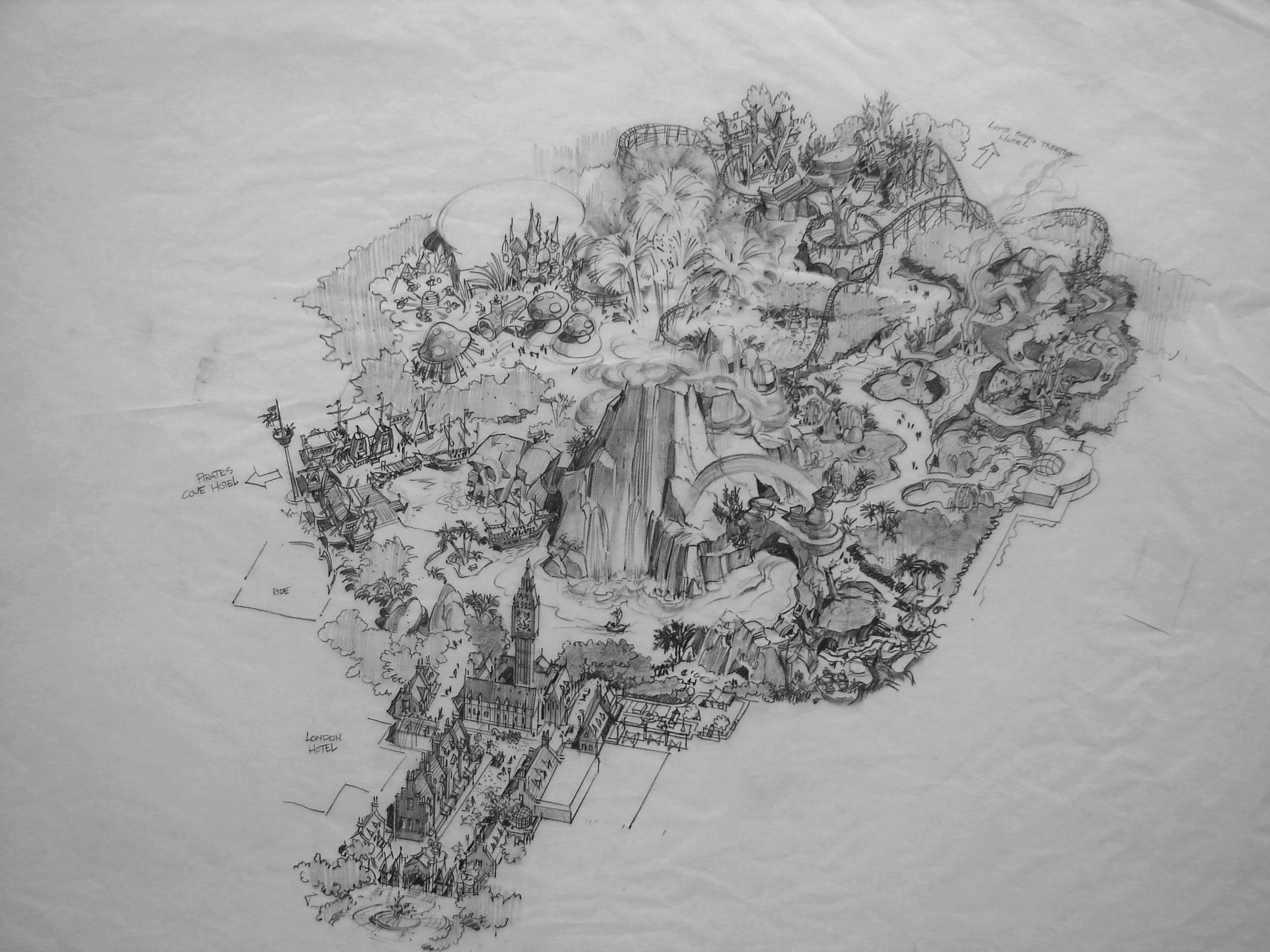 Neverland park concept sketch the unbuilt theme park commissioned by michael jackson
