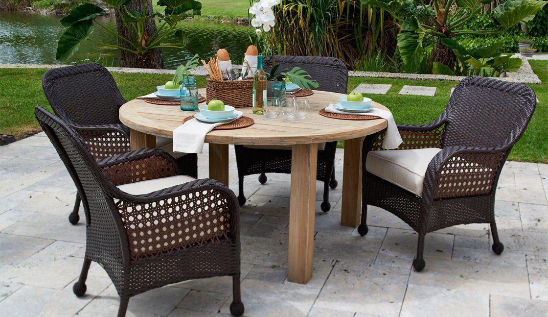Bridgewater Dining Set With Teak Table Teak Table Outdoor Furniture Sets Teak Outdoor