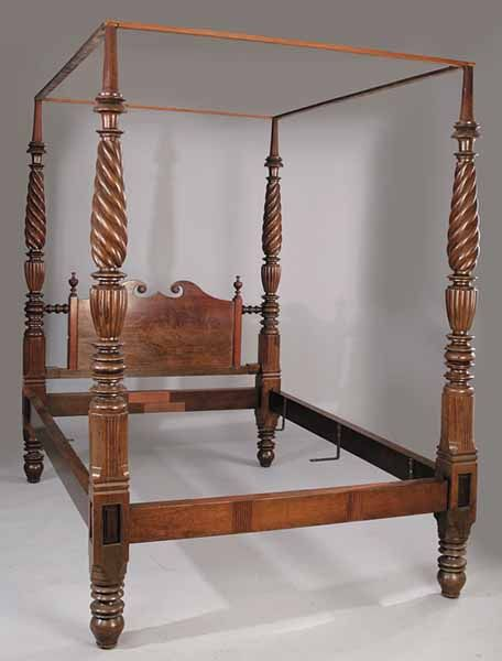A West Indies Classical Carved Mahogany Tester Bed C 1820 1840 Broken Scroll Headboard With Urn Fin Indian Furniture British Colonial Style Furniture Design