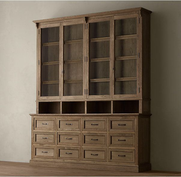 Restoration Hardware Kitchen Cabinets: Apothecary Double-Door Sideboard & Glass Hutch