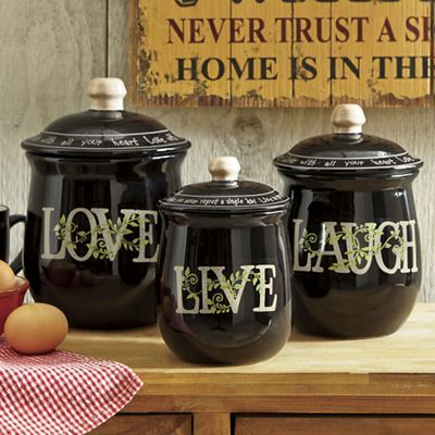 3 Piece Live Laugh Love Canister Set · Coffee Theme KitchenKitchen  DecorKitchen ...