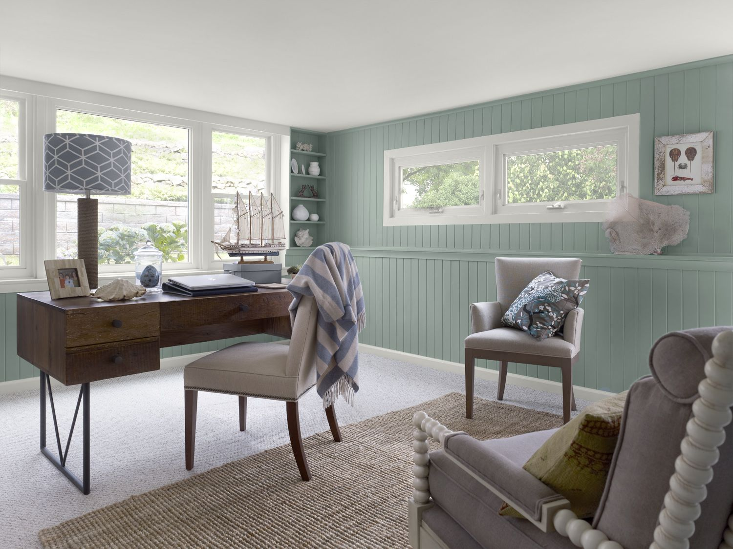 A Fresh Paint Color On Wood Paneling Instantly Transforms This Space Seashore Inspired Blues