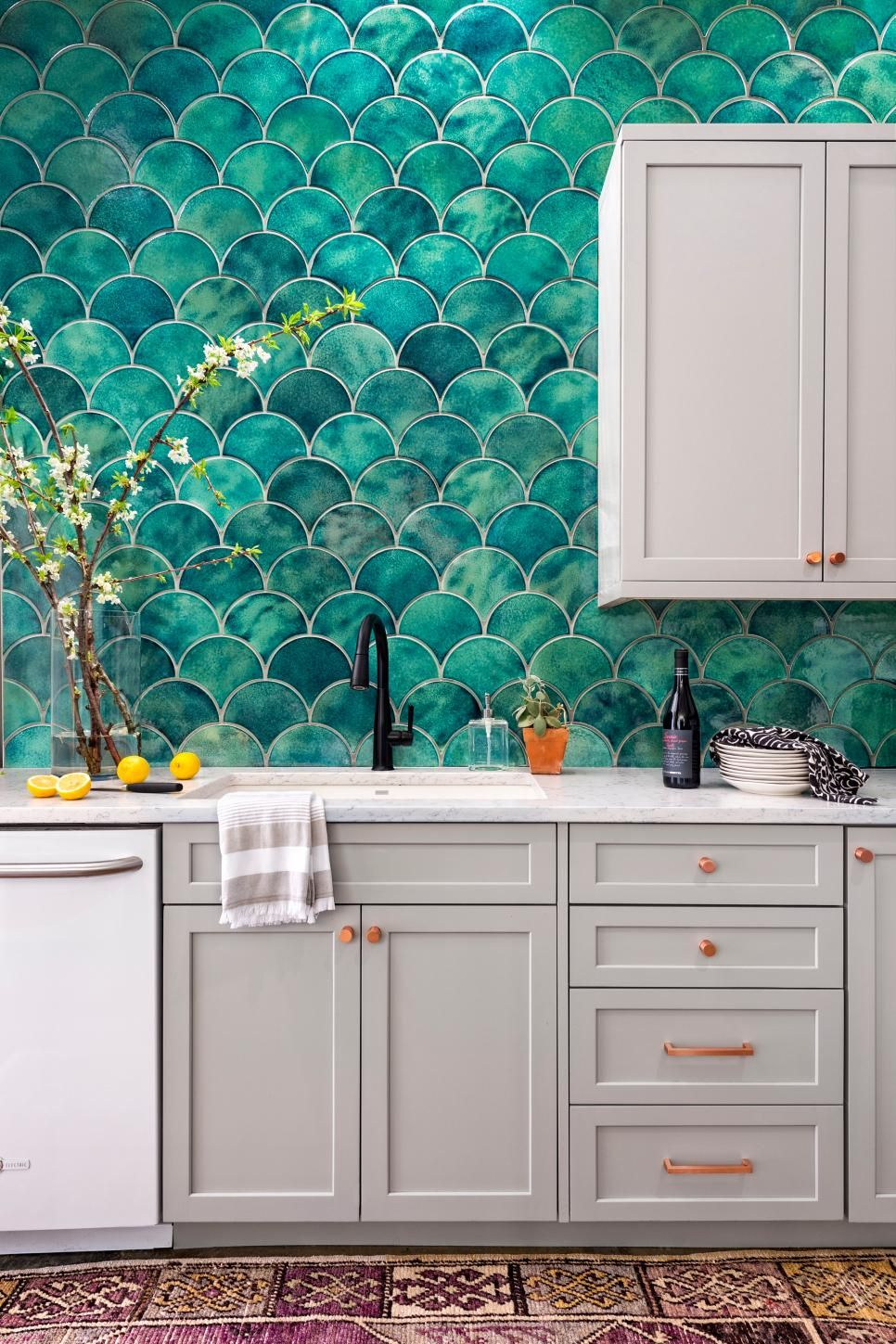Waddell Urban Kitchen Teal Tile