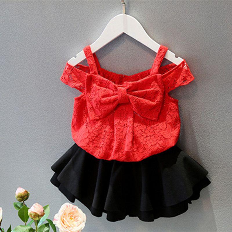 8d365fdd5309 2016 Summer Girls Clothes Fashion Off Shoulder Vest Red Big Bownot Lace  Tops Korean Children Clothing Kids Girl Shirts For 2-8Y