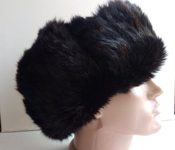 Vintage Rabbit fur hat Brown Ushanka hat Trapper Hat Russian real fur  winter hat Men s ear flaps fur 395f999811b