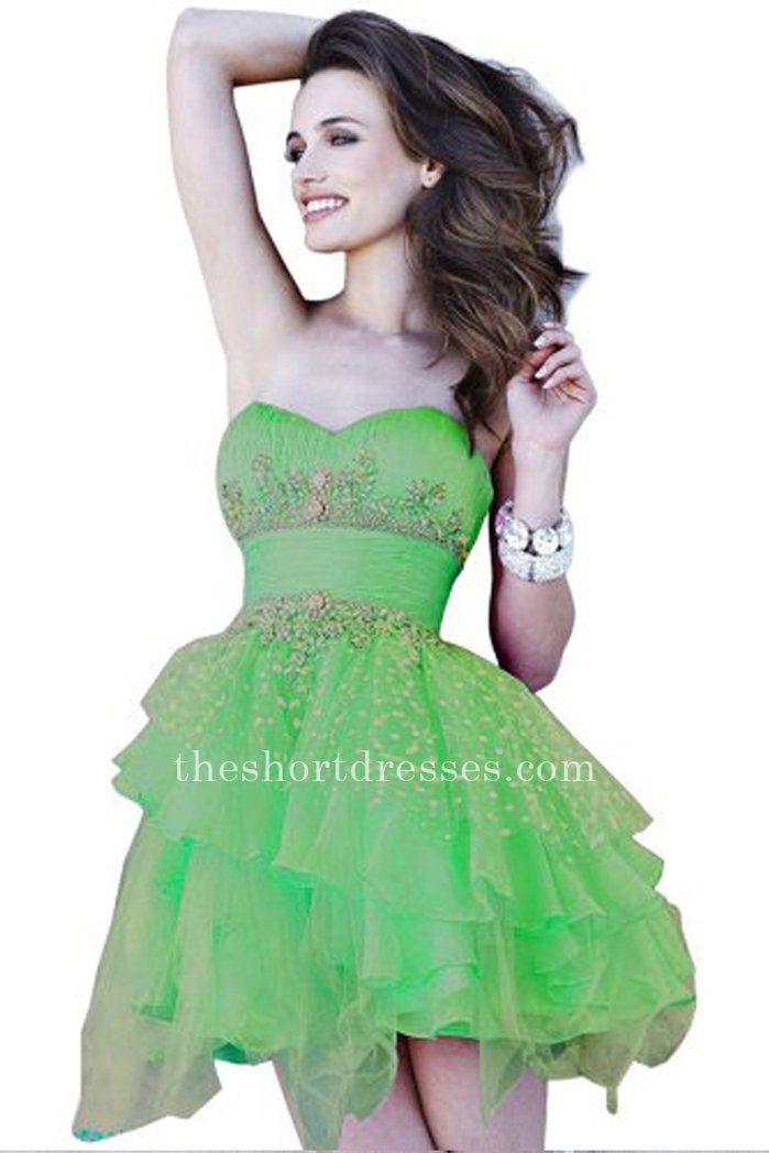 Ruched Green Layered Jewels Strapless Short Sherri Hill 3856 Homecoming  Dresses