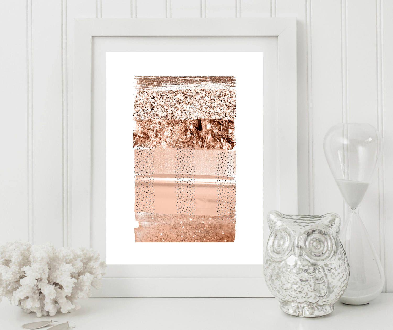 Rose gold wall artrose gold stripessilver gray rosecoper decor