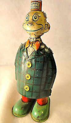 Old 1930s Happy Hooligan Wind Up Walking Tin Litho J Chein Toy