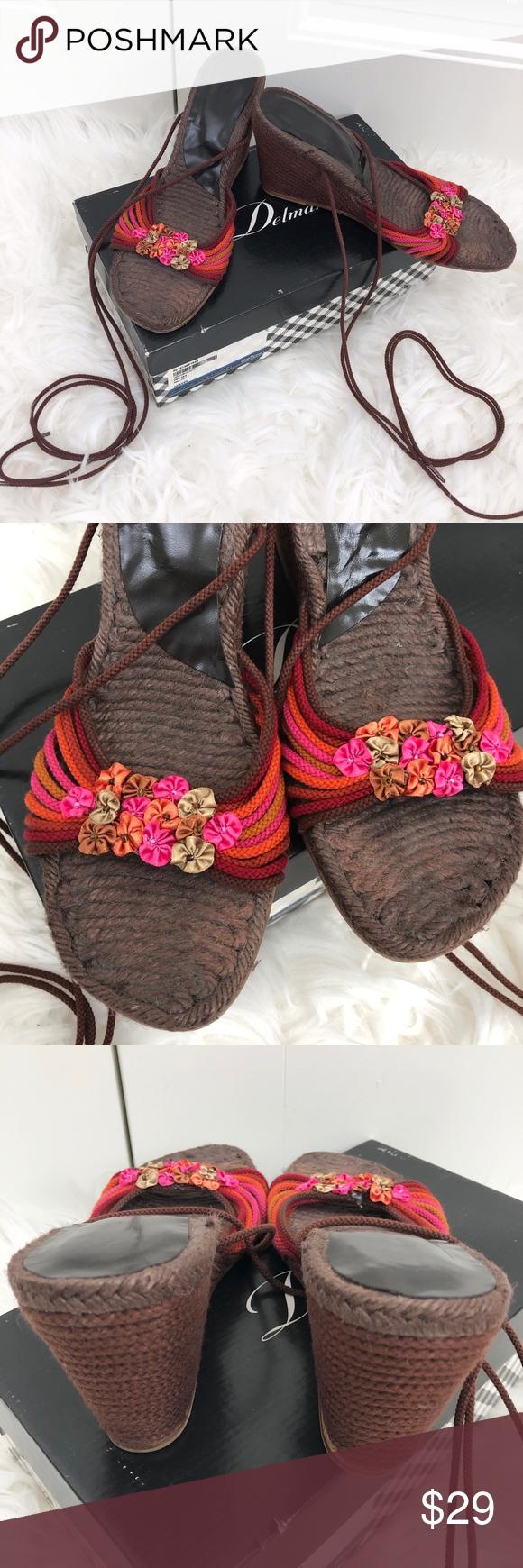 Delman Brown Silk Espadrille Ankle Wedges Berry Delman Berry Silk Cord Brown Espadrille Wedge Heels...