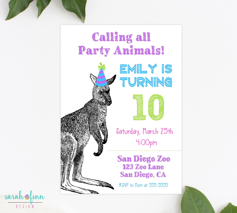 Kangaroo Invitation, Party Animal Invitation, Zoo Invitation, Wild ...