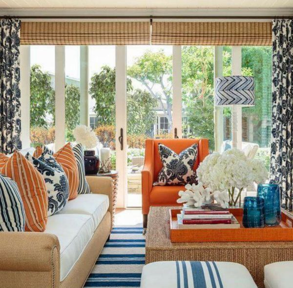 Favorite Looks From Barclay Butera Living Room Orange Curtains