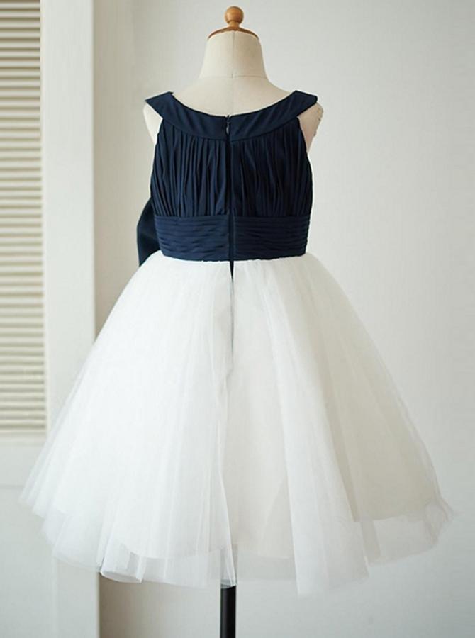8405fda706 Cute Round Neck Sleeveless Flower Girl Dresses With Bow