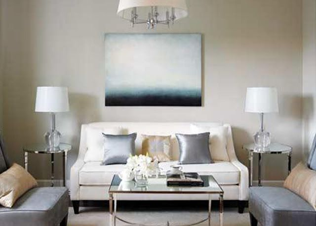 Ivory couch griege walls ice blue accents pied a terre - Ivory painted living room furniture ...