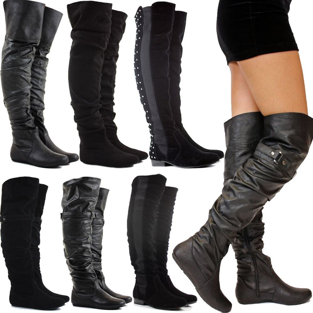 3645447828e8 WOMENS LADIES BLACK FLAT HEEL OVER THE KNEE THIGH HIGH SUEDE LEATHER BOOTS  SIZE  Branded  OverKneeBoots