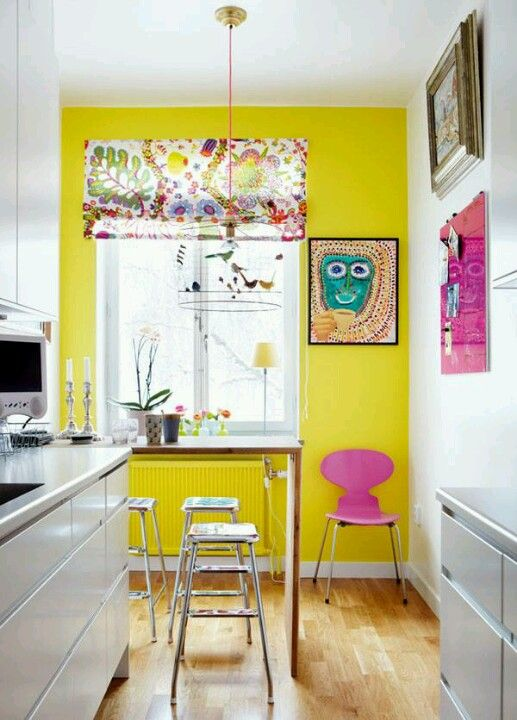 cool white kitchen with bright yellow accent wall, plus love the ...