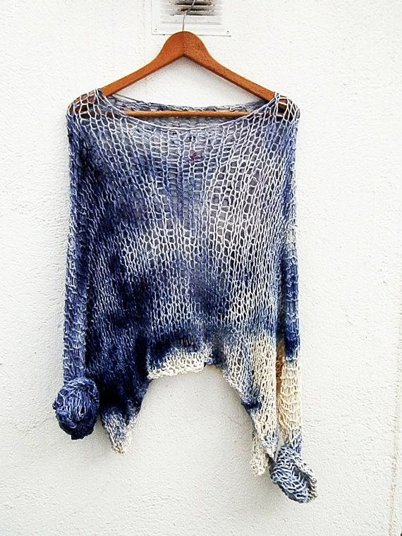 Blue sweater / chunky cotton sweater/ handknit sweater/ Oversized Sweater/ Loose knit sweater